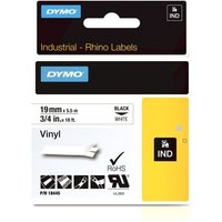 Dymo Black on White Rhino Vinyl Tape 19mm x 5.5m