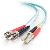 15m LC-ST 10Gb 50/125 OM3 Duplex Multimode PVC Fibre Optic Cable (LSZH) - Aqua