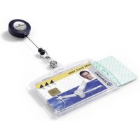 Durable Dual Security Pass Holder With Badge Reel 10 Pack