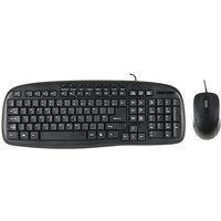 Xenta Black Wired Keyboard with Black Optical Scroll Mouse Bundle - USB - UK Layout