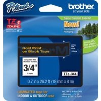 Brother TZe 344 Laminated adhesive tape- Gold on Black