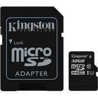Kingston Technology 32GB microSDHC Class 10 UHS-I 45MB/s Read Card + SD Adapter