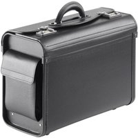 Falcon Multi-purpose Compact Pilot Case - Black  - Luxurious soft synthetic leather - Internal filing separator - For up to 15.6