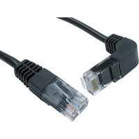 0.5mtr CAT 5 E UTP Straight to Right Angled Down Black