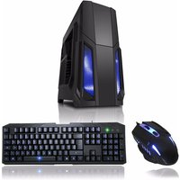 CIT Storm Black Atx Case Blue LED Front Fan + Keyboard andamp; Mouse Set