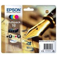 Image of Epson 16 Black Cyan Magenta Yellow Ink Cartridge (Pack of 4)
