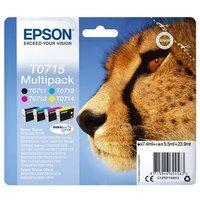 Image of Epson T0715 Black Cyan Magenta Yellow Inkjet Cartridge Value (Pack of 4)