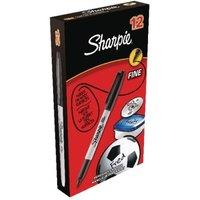 Image of Sharpie Black Permanent Marker Fine (Pack of 12)