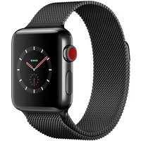 Apple Watch Series 3 GPS + Cellular, 38mm Space Black Stainless Steel Case with Space Black Milanese Loop