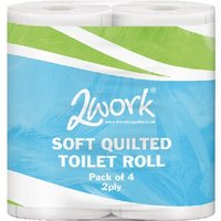 Image of 2Work Luxury White 2-Ply Quilted Toilet Roll 10 (Packs of 4)