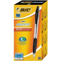 Bic Atlantis Ball Pen Retractable Cushioned Grip 1.0mm Tip 0.4mm Line Black Ref 1199013671 [pack 12]