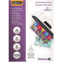 Fellowes (A4) Glossy 80 Micron Glossy Laminating Pouch (25 Pack)