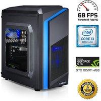 Chillblast Fusion Launch Pad Gaming PC, Intel Core i3-8100 3.6GHz, 8GB DDR4, 1TB HDD, 120GB SSD, NVIDIA GTX 1050Ti 4GB, Windows 10 Home 64bit