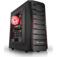 PC Specialist Vanquish Redline Pro Gaming PC, AMD Ryzen 3 2300X Quad Core 3.5GHz, 8GB DDR4, 1TB HDD, 120GB SSD, NVIDIA GTX 1050Ti 4GB, WIFI,