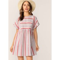 Keyhole Back Roll Tab Sleeve Colour Block Striped Dress