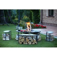 Steel Wood Fire Pit Table and Bench Set