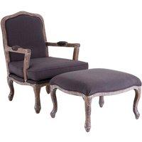 Rococo Hardwood Armchair and Ottoman