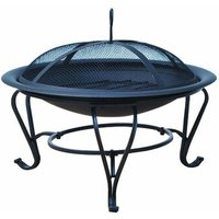 Round Mesh Lid Garden Stove Patio Brazier Metal Wood Fire Pit