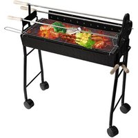 33.5 cm Charcoal BBQ Trolley Charcoal Grill with 4 Wheels