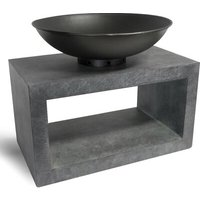 Firebowl Clay Fire Pit Table with Rectangle Console