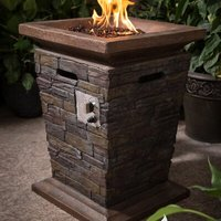 Fibreglass Tall Stone Gas Fire Pit