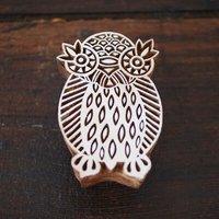 Decorative Fair Trade Large Owl Printing Block