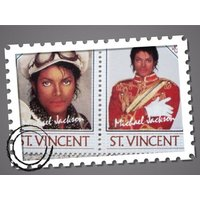 1980s Michael Jackson .. Pair if Limited Edition St Vincent Postage Stamps  .. MINT / Unused  5 dollars - Michael Jackson Gifts