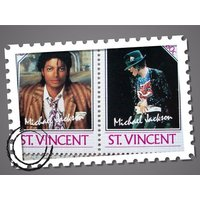 1980s Michael Jackson .. Pair of Limited Edition St Vincent Postage Stamps ..MINT / Unused   60c - Michael Jackson Gifts