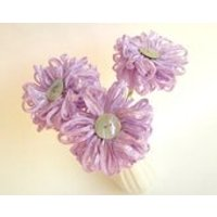 3 Lilac Ribbon Flowers a handmade fabric flower bouquet - Lilac Gifts