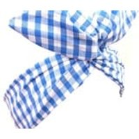 Sky Blue  White Gingham Checked wire ROCKABILLY Headband Hair Wrap - Hair Gifts