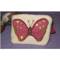 Handmade 100% Wool Felt Coin purse / Pouch with Butterfly appliqu - Handmade Gifts