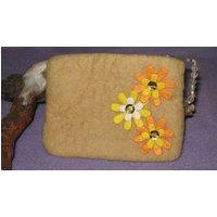 Yellow felt coin purse/pouch. Handmade felt 100% wool acetate lining. - Handmade Gifts