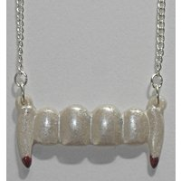 Pearly white vampire fangs necklace - Vampire Gifts