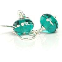 Teal Green Earrings  Lampwork Earrings with Sterling Silver  Handmade Glass Earrings UK SRA - Handmade Gifts