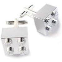Chrome Silver Brick Cuff links. Handmade with LEGO(r) Bricks. Cuff links for weddings. office cuff links, groom cuff links  Silver Plated - Chrome Gifts