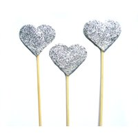 Big Silver Glitter Heart Cake Topper  Set of 3  wedding, engagement, birthday, baby shower, tea party - Seek Gifts