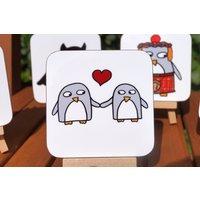 Penguin Love Coaster  Anniversary gift Wedding Favours  Engagement  Birthday Boyfriend  Girlfriend Gift  Wife  Partner - Seek Gifts