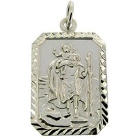 St Christopher Sterling Silver Personalised Rectangular Pendant Necklace  Chain Option  Holy Communion Gift Religious Jewellery - First Holy Communion Gifts