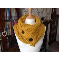 Retro mustard yellow hand knitted aran cable scarf with UGG buttons to fit teens and adults (one size) - Ugg Gifts