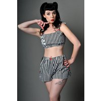 Skull Crop Top, Halloween Pyjamas, Striped Camisole, Pirate Top, Pin Up Sleepwear, Made To Order in Sizes xsxxl, TOP ONLY - Halloween Gifts
