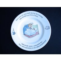 1990s Vintage Wedgwood Peter Rabbit Beatrix Potter Christening Plate English Fine Bone China Bunnykins Celebrate your Christening - Beatrix Potter Gifts