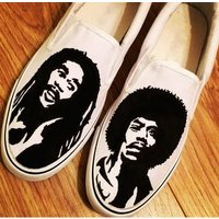 Bob Marley Jimi Hendrix Custom Shoes, Custom Converse, Converse Allstars, Vans Shoes, Painted Shoes - Bob Marley Gifts