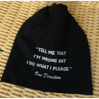 One Direction lyrics from Midnight Memories printed on black jersey slouchy beanie hat, 1D, Directioner gift, teen gift, music, accessories - One Direction Gifts