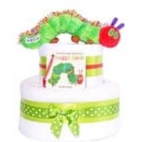 The Very Hungry Caterpillar 2 tier Unisex Baby Shower Nappy Cake neutral Gift Hamper basket - The Very Hungry Caterpillar Gifts