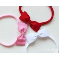 Headbands Gift Set  Red, Soft Pink and White Small Grosgrain Ribbon Bow Handmade Headbands  Baby to Adult Headband - Handmade Gifts