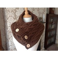 Chocolate brown hand knitted aran cable scarf with UGG buttons to fit teens and adults (one size) - Ugg Gifts