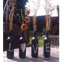 4 unique LOVE bottles can be used to display  flowers or candles ideal gift - Seek Gifts