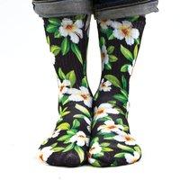 Samson Hawaiian Black White Sublimation Hand Printed Socks Hawaii Island Tropical Quality Print UK - Hawaiian Gifts
