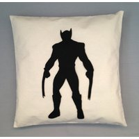 Wolverine  Xmen Cushion Pillow Cover Black Silhouette Retro Superhero Comic Book Movie Design 14 16 18 20 22 inch size small large - Wolverine Gifts