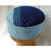 Mens Boho Hat Denim Smoking Cap Hippie Clothing, Rugged Grunge Clothing, Blue Pillbox Hat Mens Steampunk Oriental Cap Patchwork indigo blue - Oriental Gifts